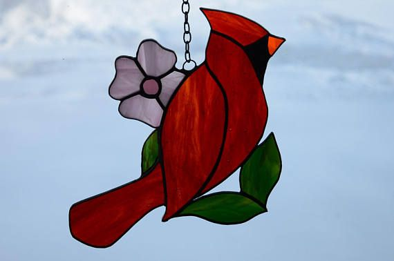 Stained Glass Cardinal Sun Catcher