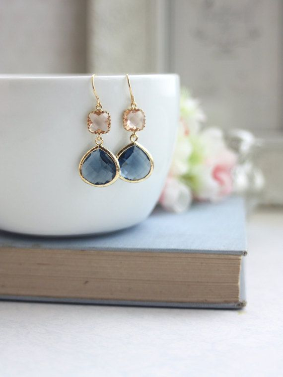 Wedding Jewelry Navy Blue and Peach Earrings Gold Blue and