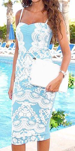 Printed Blue Sheath Dress