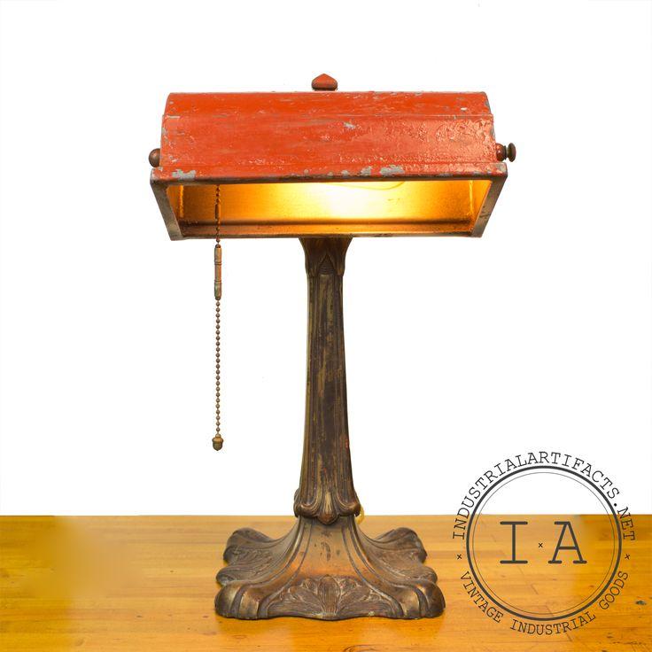 Vintage Industrial Ornate Bronze Bankers Lamp Table Desk Piano Art Nouveau Light