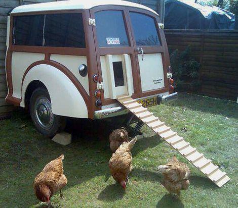 Morris Minor Chicken Coop  I LOVE this!