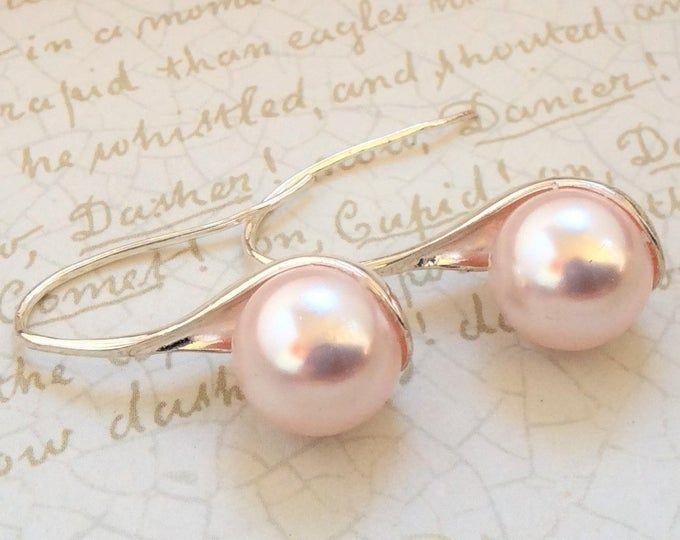 Pastel Pink Pearl Braecelet Stretchable Bracelet Rhinestone Spacer Bridemaid Bracelet Blush Pink Bracelet Free Shipping In USA
