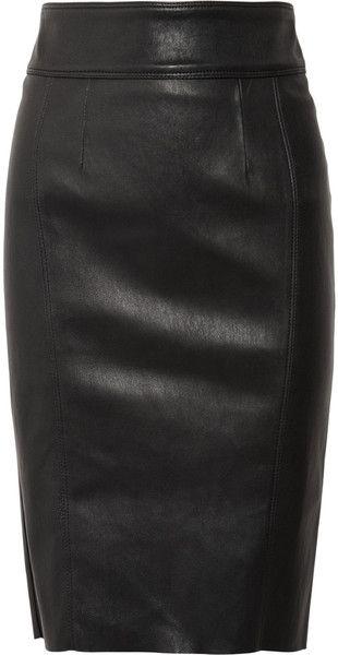 Burberry black leather pencil skirt