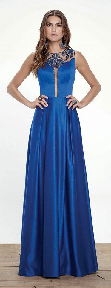 Satin blue perfect skirt line dress