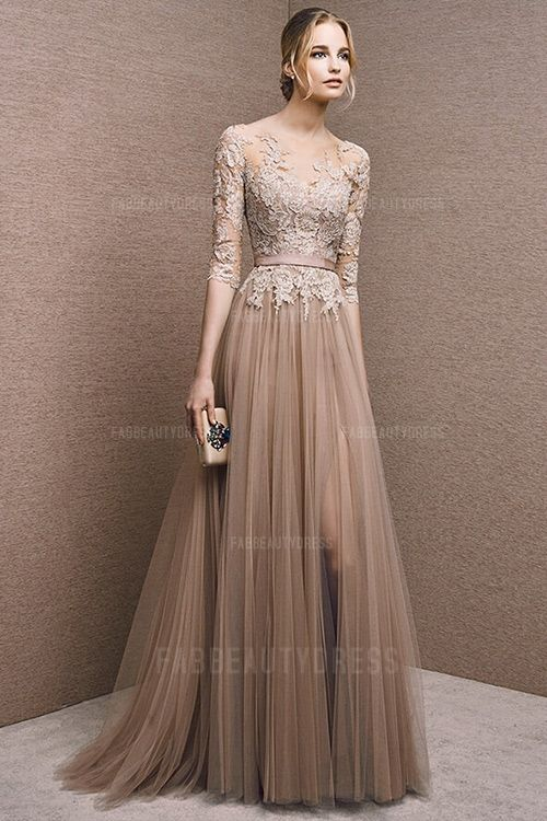A-Line/Princess Bateau Sweep/Brush Train Tulle Mother of the Bride Dress
