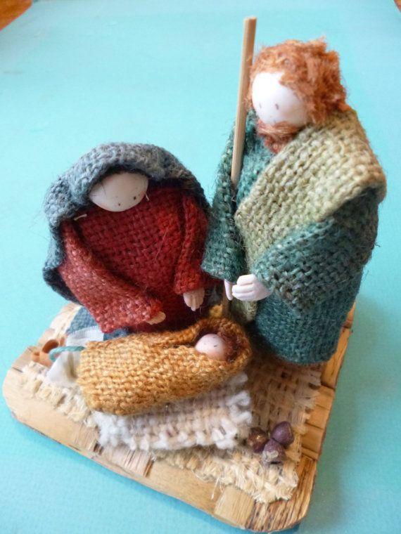 Folk Art Nativity Vintage Burlap Figures of Mary by myeduardo