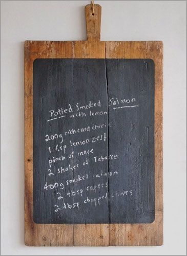 cool idea - wooden chopping board turned into a wall hanging chalk board