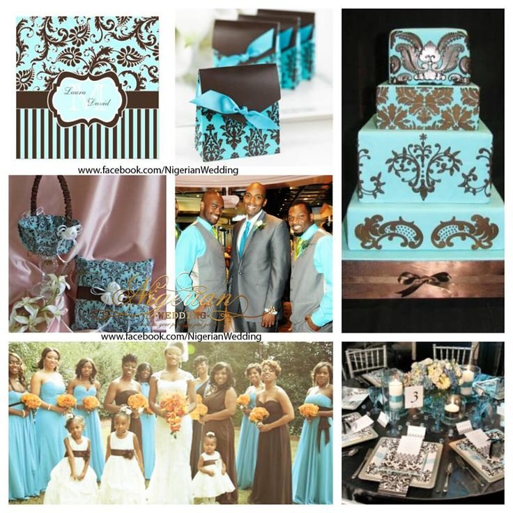 tiffany blue and black wedding decorations%0A Aqua blue and brown damask wedding
