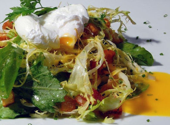 Salad Lyonaise, Frisee, Lardons, Poached Organic Egg | @Omecaterer #njcatering #nycatering #caterersnj | Ome Caterers Catering NJ NY CT | Wedding Reception Ideas Decorations, Bat Mitzvahs, Charity Golf Outing, Fundraising, Corporate, Event Planner