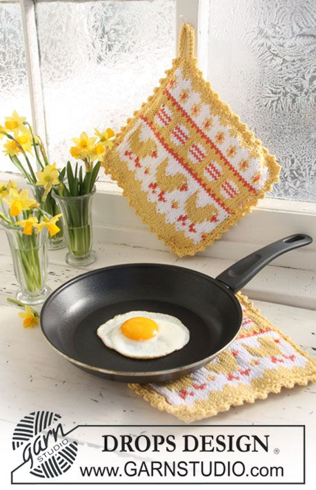 "DROPS knitted Easter pot holder with pattern in ""Paris"". ~ DROPS Design"