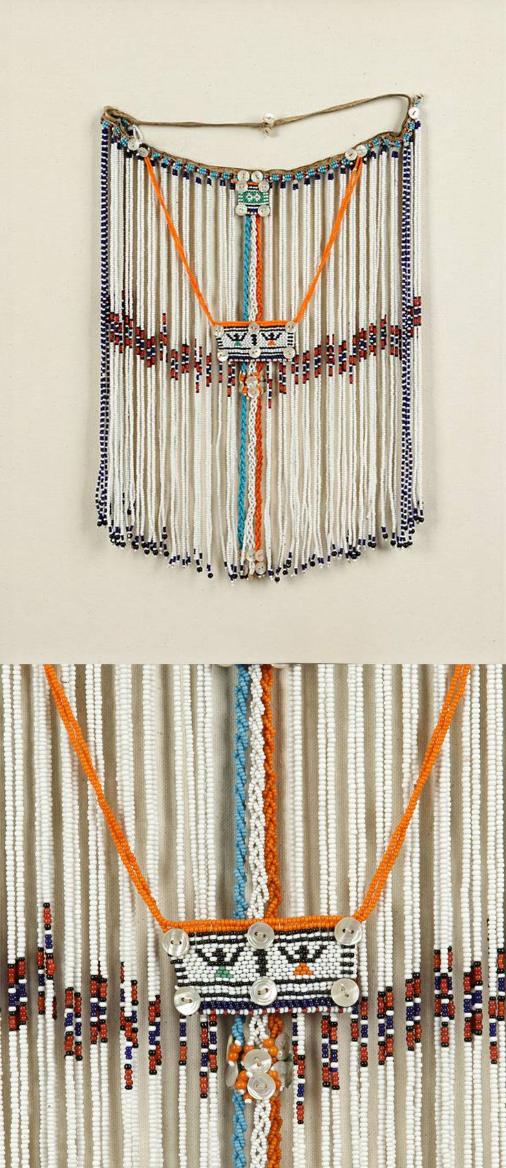 Africa | Wedding veil from the Xhosa people of South Africa | Cloth, glass beads, buttons | 20th century