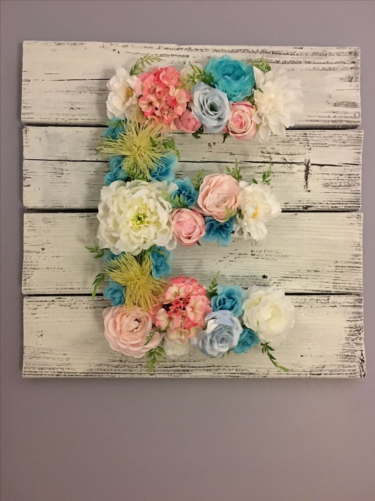 Floral initial on reclaimed wood painted with white chalk paint!