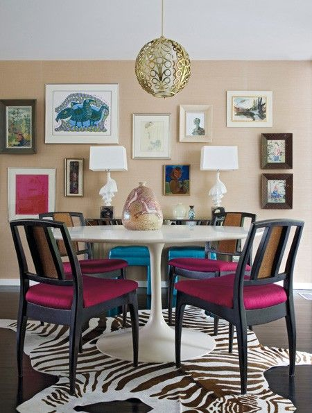 Colourful Eclectic Dining Room | photo Julia Lynn | design Angie Hranowsky | House & HomeDecor,  Boards, Dining Rooms, Kitchens Nooks, Dining Table'S, Eclectic Dining Room, Gallery Wall, Chairs Covers, Angie Hranowsky