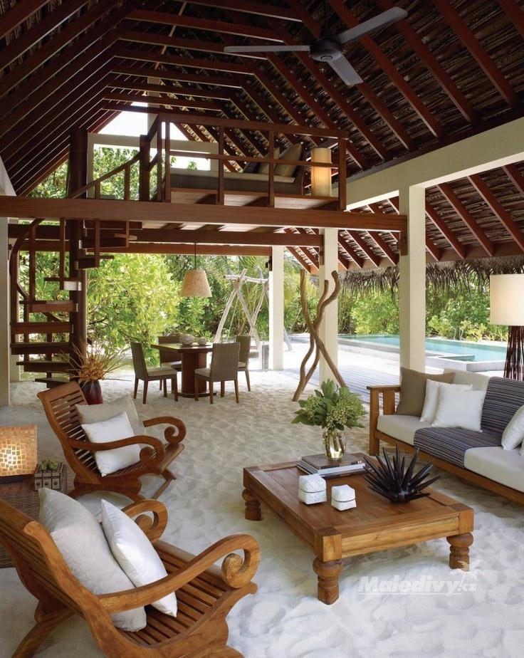Beach villa with sand floor living room | Four Seasons Hotel in Landaa Giraavaru, Maldive. - photo via ArchiEli on fb