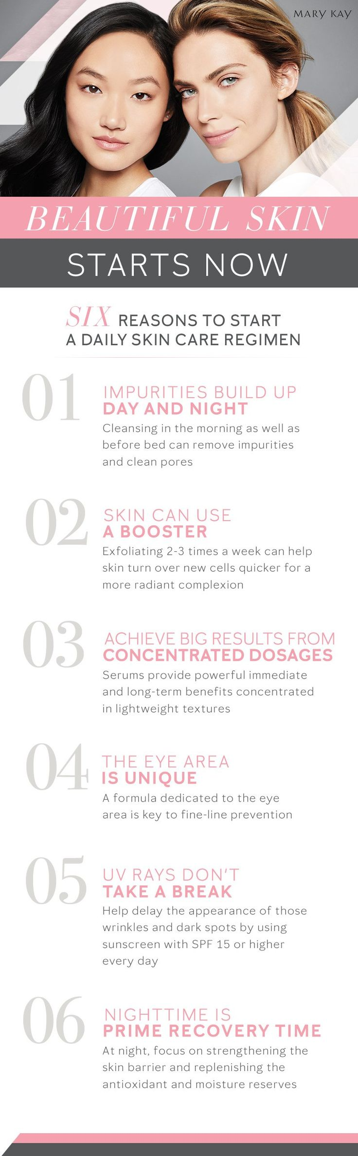 It's never too early or too late to start caring for your skin. Whether it's maintaining a youthful complexion, boosting radiance or supporting skin's resilience, here's what a daily skin care regimen can do for you. | Mary Kay