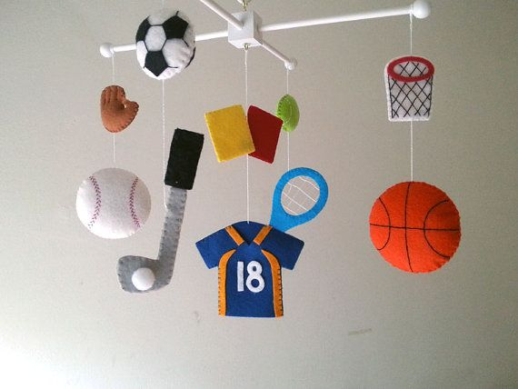 Baby crib mobile Sports mobile Boy mobile  felt mobile by Feltnjoy