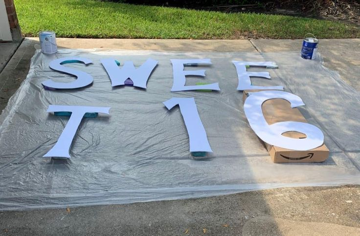 Diy gold glitter yard letters sweet 16 birthday ideas