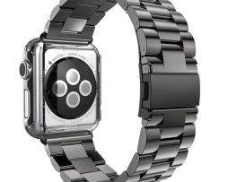 iWatch náramok na Apple hodinky z ocele s bumperom - čierny http://www.luxusne-doplnky.eu