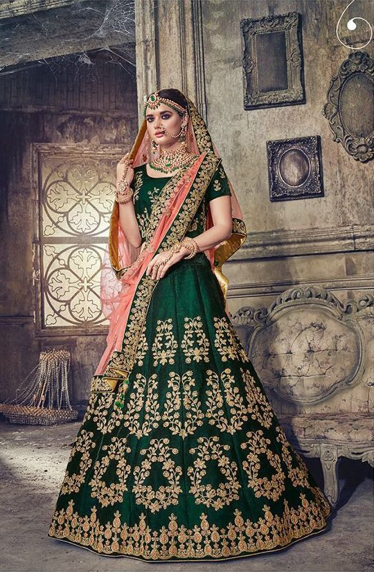 425dbce80105 Green Velvet Designer Lehenga Choli - LEMNS4002 Green Colour Velvet Fabric  Blouse with embroidery. Peach Color Net Dupatta.