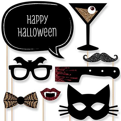 Spooktacularly Sophisticated - Halloween Party 20 Piece Photo Booth Props Kit | BigDotOfHappiness.com