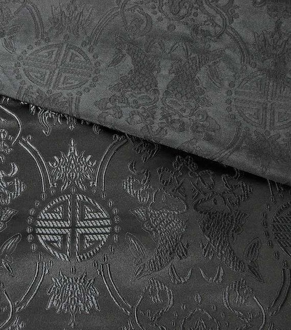 Chinese brocade fabric black on black twin fish and by chachacup