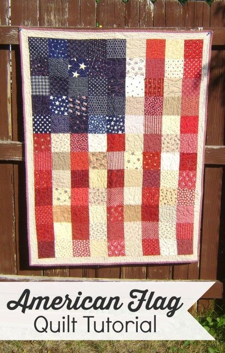 Simple tutorial for a patchwork red, white, and blue American Flag quilt.