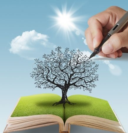 open book of hand drawn the big tree