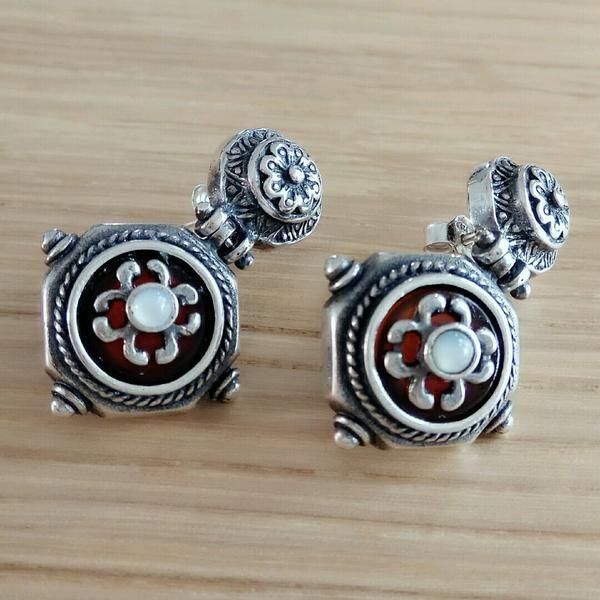 Heritage Carnelian and Ivory Silver Earrings