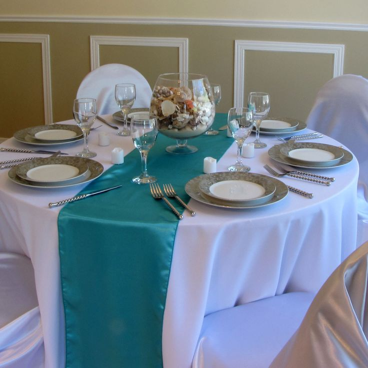 10 Turquoise Satin Table Runners Wedding Decor New