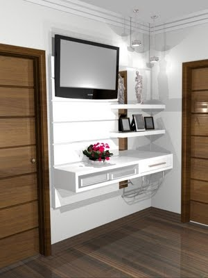 TV with built-in shelving = great bedroom idea!