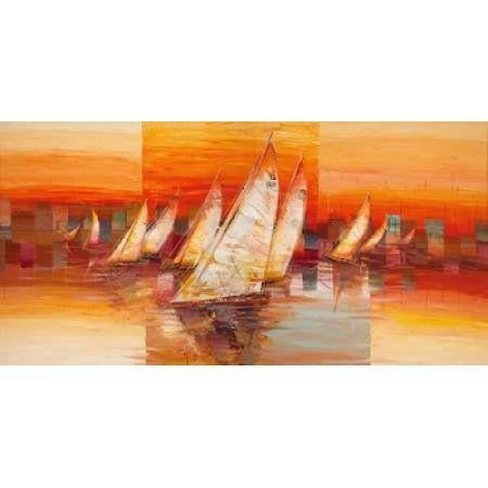 Vele al tramonto Canvas Art - Luigi Florio (24 x 48)