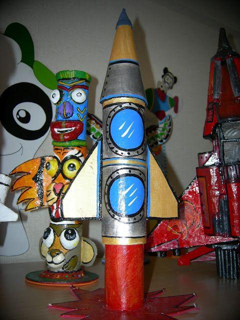 Caramelero cohete espacial realizado con tubos de papel - Tubo de aluminio ...