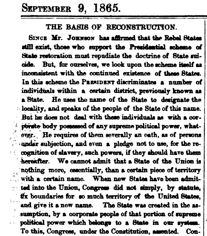 This is a document from the Reconstruction Period stating
