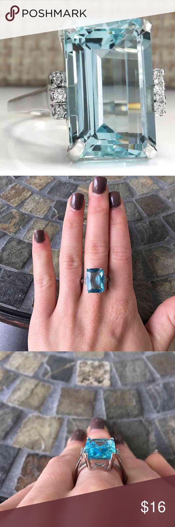 Emerald Cut Aqua Silver Engagement Ring Gorgeous 6.35ct emerald Aqua center stone 3 small round stones on either side Silver plated FIRM PRICE/NO TRADES❗ Jewelry Rings