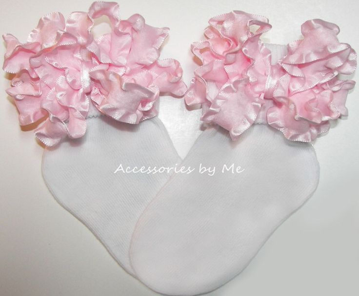 Frilly Bow Socks, Light Pink Ruffle Ribbon, Baby Girls Newborn Infant Toddler Accessories, Flower Girl, Pageant, 1st Birthday Party, Dance by AccessoriesbyMe on Etsy https://www.etsy.com/listing/104371654/frilly-bow-socks-light-pink-ruffle