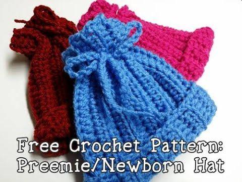 Free Crochet Pattern: Ribbed Newborn or Preemie Hat | Poochie Baby