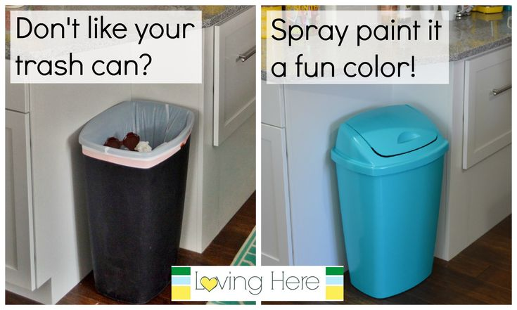 Painting a trash can to match the kitchen!