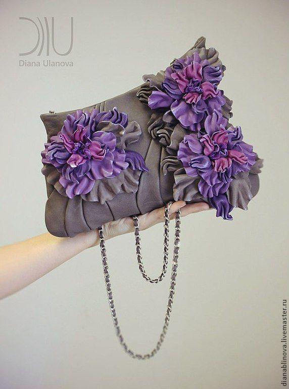 """клатч """"Букет"""" 1 - однотонный,черная сумка,авторская сумка,необычная сумка"""