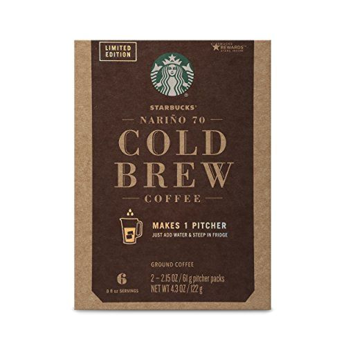 Starbucks Nariño 70 Cold Brew Pitcher Packs, Medium Roast Coffee—4 boxes (makes 4 pitchers)  Our Starbucks beans, a custom blend of 70% Colombia Nariño and 30% African, are grown for a long and cold steep, producing a super-smooth flavor  Drop the sealed pitcher pack bags in a pitcher of water for 24 hours for a bold, super-smooth cold brew coffee that can be enjoyed at any time  The Nariño coffee brings roundness and chocolate flavor notes to the coffee, resulting in a bold, smooth an...
