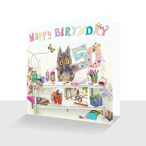 50th Birthday Card : Oakley Owl Crafting, Unique Greeting Cards Online, Buy Luxury Handmade Cards, Unusual Cute Birthday Cards and Quality Christmas Cards