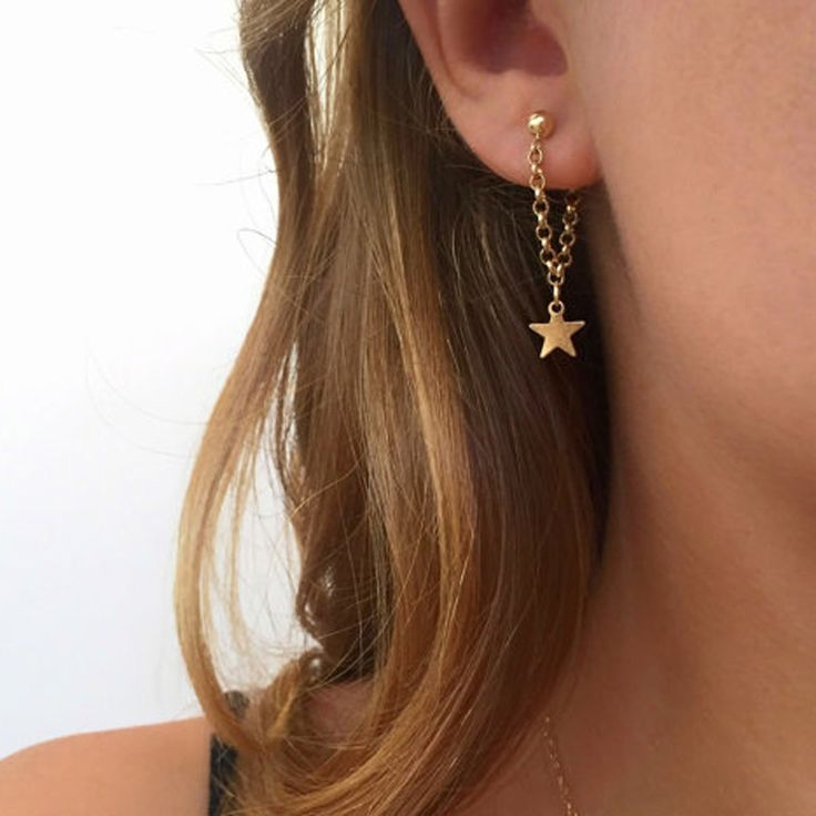 Cheap earrings fashion, Buy Quality chain earrings directly from China earrings for Suppliers: New fashion jewelry accessories gold color star  design chain angle earring best gift for lover's girl wholesale E370