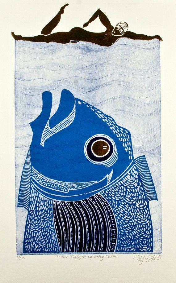 linocut The Danger of being Male swimmer fish by linocutheaven