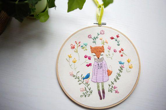 The Lovely Miss Fox Hand Embroidered Children's  Fiber Art