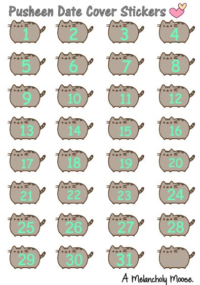 pusheen date cover stickers