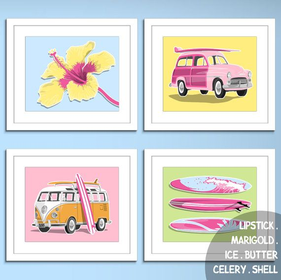 surfer girl pink surf decore beach art prints surf by PaperLlamas, $45.00