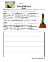 Planting Seeds Sequence Worksheet: Read the sentences, which are out of order. Cut out the sentences and glue them into the correct order so the story makes sense. Information: Sequence, Sequencing, Sequence of Events, Order of Events, Put Things In Order.