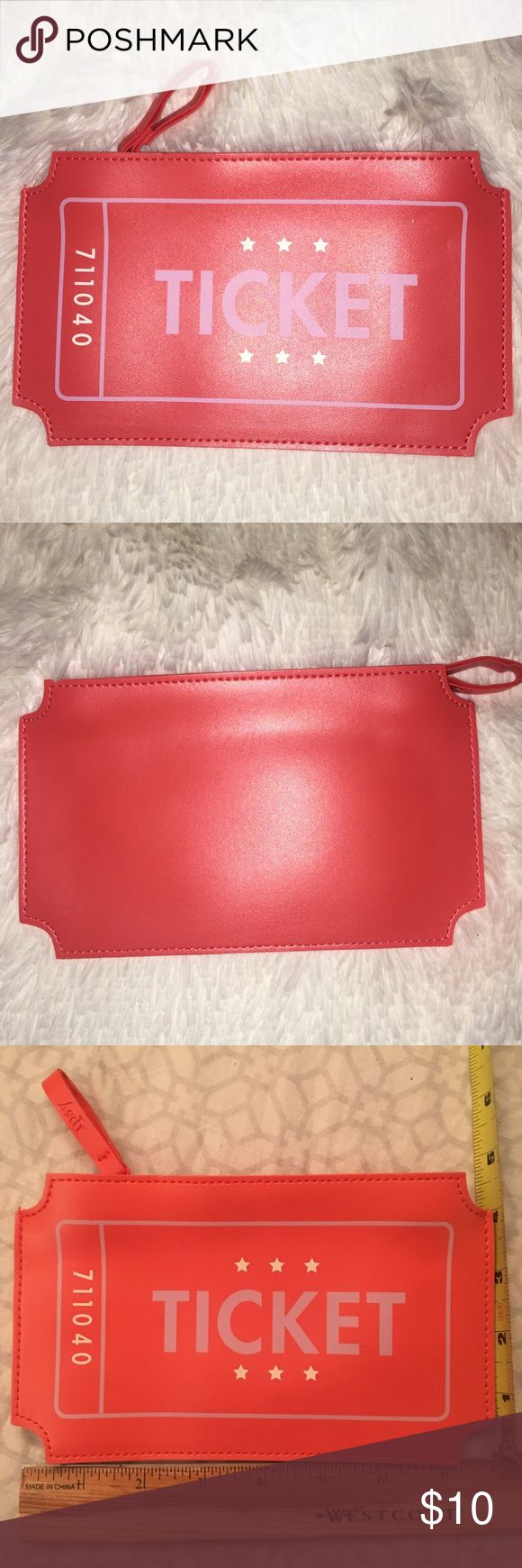 """""""Ticket"""" Design  Cosmetic Bag. NWOT. No pockets. No flaws. NEVER USED Bags Cosmetic Bags & Cases"""