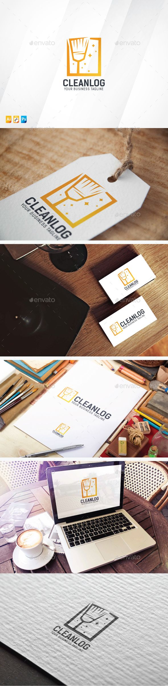 Clean  - Logo Design Template Vector #logotype Download it here: http://graphicriver.net/item/clean-logo/13826294?s_rank=595?ref=nexion