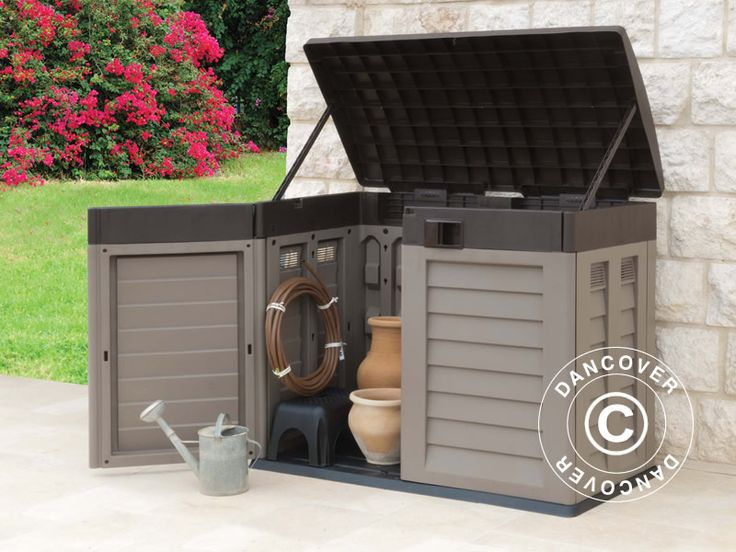 GARDEN STORAGE BOX, 146X87X119 CM, MOCHA/BROWN Garden box for storing garden tools, sports equipment, pool accessories, garden furniture, cushions and other leisure equipment. This compact garden shed has ventilation panels, a sturdy floor and a lockable lid. Maintenance-free and UV-resistant.