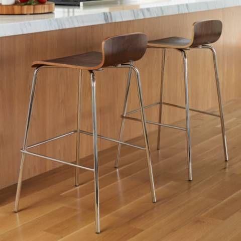 "Caleb 29 1/2"" Sculpted Wood Veneer Barstool Set of 2 - #1D550   Lamps Plus"